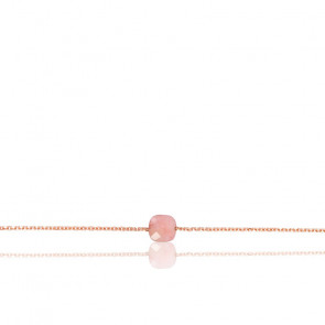 Bracelet Chaîne Opale Rose Plaqué Or Rose