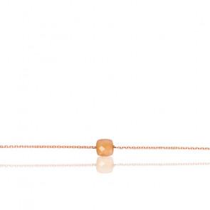 Bracelet Chaîne Pierre de Lune Pêche Plaqué Or Rose