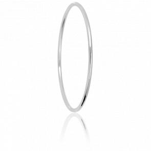 Bracelet Jonc Fil Rond Massif 70 mm Or Blanc 18K