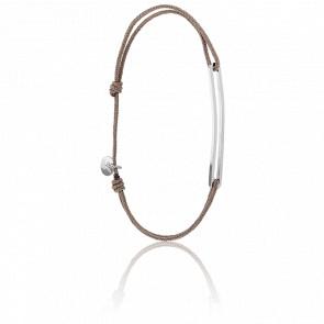 Bracelet Figaro Slim Argent Cordon Taupe