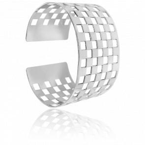 Bracelet Manchette Damier Argent