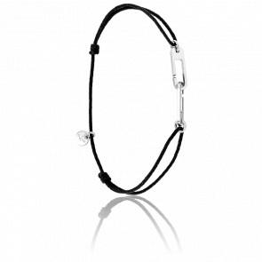 Bracelet Osmose Argent Cordon Noir