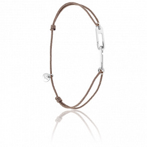 Bracelet Osmose Argent Cordon Taupe