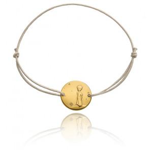 Bracelet Petit Prince Planète Cordon Gris & Or Jaune 18K