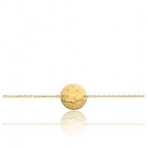 Bracelet Chaîne Forçat Petit Prince Dans l'Herbe Or Jaune 18K