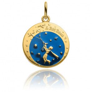 Médaille Petit Prince & Oiseaux en Couleur Or Jaune 18K