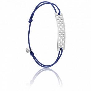 Bracelet Plaque Rectangle Damier GM Argent Cordon Bleu