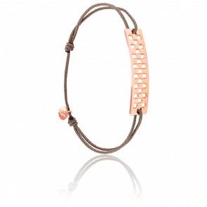 Bracelet Plaque Rectangle Damier GM Vermeil Rose Cordon Taupe