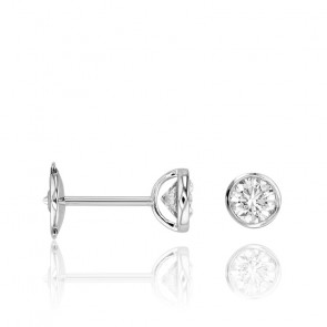 Puces d'Oreilles Diamants Clos 0,20 ct HSI & Or Blanc 18K