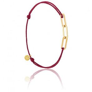 Bracelet Figaro 3 Anneaux Vermeil Jaune Cordon Rouge