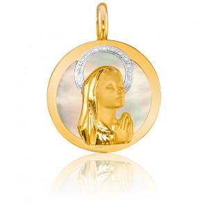 Médaille Vierge Ronde En prière Nacre 2 Ors 18K