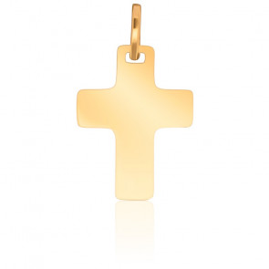 Croix 17x22 mm Plate Simple Or Jaune 18K