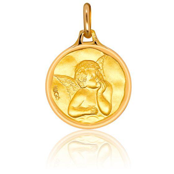 Médaille Ange Raphaël Bords Cachets Or Jaune 18K