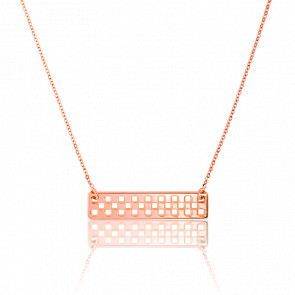 Collier Plaque Rectangle Damier GM Vermeil Rose
