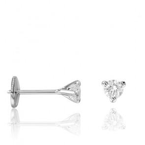 Puces d'Oreilles Shine Or Blanc 18K et Diamant 0,15 ct