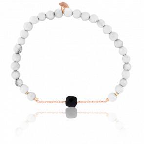 Bracelet Nude Briolettes, Onyx Noire & Plaqué Or Rose