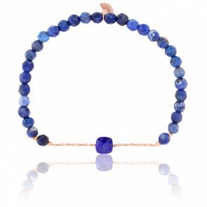Bracelet Nude Briolettes, Lapis Lazuli & Plaqué Or Rose