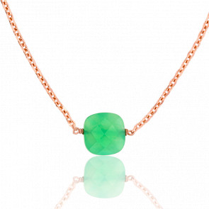 Collier Briolette Chrysoprase Plaqué Or Rose