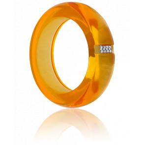 Bague Polka Résine Orange, Or Blanc 18K & Diamants