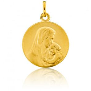 Médaille Ronde Vierge à l'Enfant Or Jaune 18K