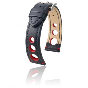 Bracelet Rally Noir - Rouge / Silver - Entrecorne 20 mm