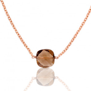 Collier Briolette Quartz Fumé Plaqué Or Rose