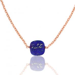 Collier Briolette Lapis Lazuli Plaqué Or Rose
