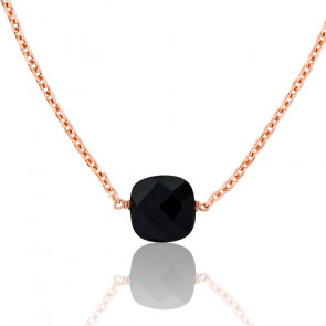 Collier Briolette Onyx Plaqué Or Rose