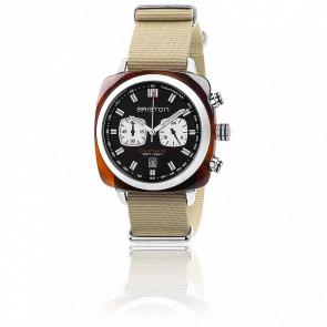 Clubmaster Sport Acétate Chrono noir bracelet Nato beige