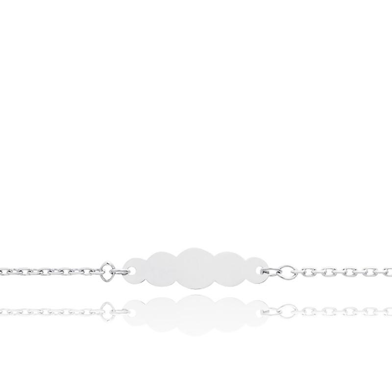 Gourmette Plaque Nuage Maille Forçat Or Blanc 18K