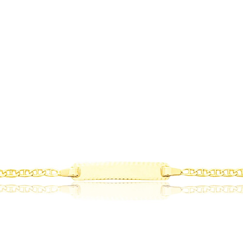 Gourmette Rectangle Maille Marine Or Jaune