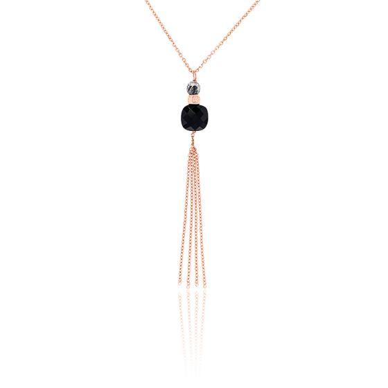 gros en ligne les mieux notés dernier sélectionner pour authentique Collier Sautoir Luxe Onyx Plaqué Or Rose - Senzou - Ocarat