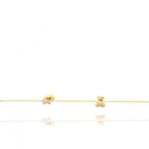 Bracelet Animaux Maille Forcat Or Jaune 18K