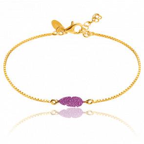 Bracelet Chaîne Dorée & Plume Glitter Rose