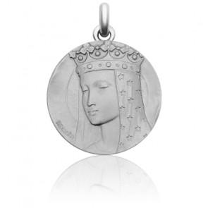 Médaille Vierge au Voile Etoilé Or Blanc 18K