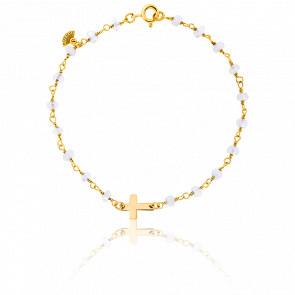 Bracelet Chaîne Perlée Pierre de Lune Plaqué Or Jaune