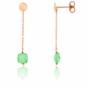 Boucles d'oreilles pendantes, chrysoprase et chaîne plaqué or rose
