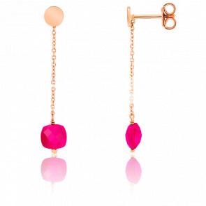 Boucles d'oreilles pendantes, agate et chaîne plaqué or rose