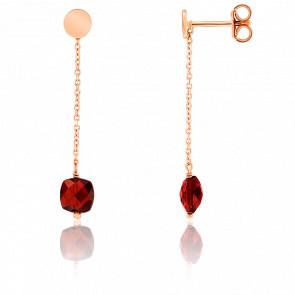 Boucles d'oreilles pendantes, grenat et chaîne plaqué or rose