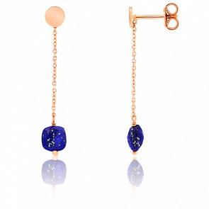 Boucles d'oreilles pendantes, lapis lazuli et chaîne plaqué or rose