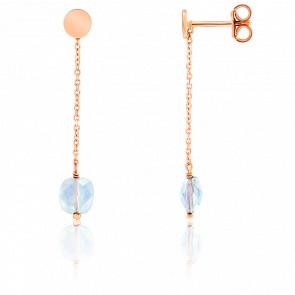 Boucles d'oreilles chaîne pendante, pierre de lune et plaqué or rose
