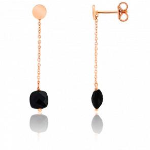 Boucles d'oreilles pendantes, onyx et chaîne plaqué or rose