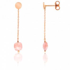 Boucles d'oreilles pendantes, opale et chaîne plaqué or rose