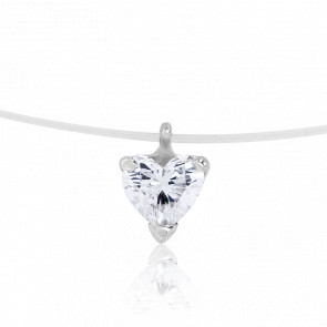 Collier Diamant Coeur 0,25 ct, Fil de Pêche & Or Blanc 18K