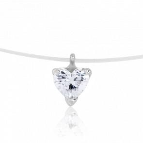 Collier diamant coeur sur fil de nylon