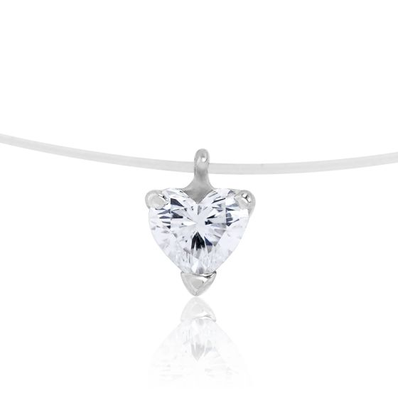 collier diamant coeur sur fil de nylon diamond lady ocarat. Black Bedroom Furniture Sets. Home Design Ideas