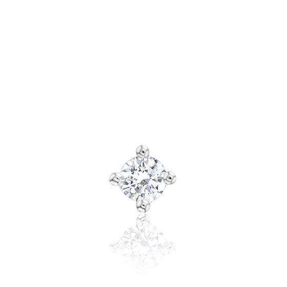 1 Boucle d'Oreille Solitaire Diamant GSI2, Or Blanc 18K