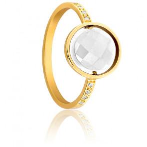 Bague My Little Agate Blanche, Diamants & Or Jaune 18K