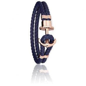 Bracelet Ancre PHREP Acier PVD Or Rose, Cuir Navy Blue