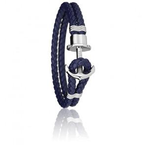 Bracelet Ancre PHREP Acier, Cuir Navy Blue